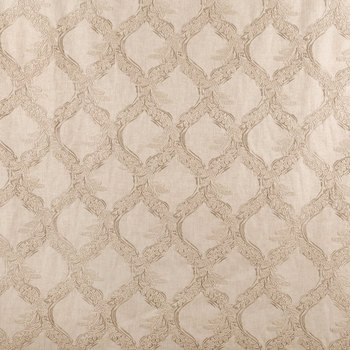 Natural Embroidered Lattice Fabric